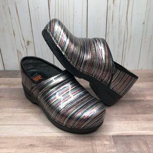 Dansko patent Leather Rainbow Stripe Clog Mules
